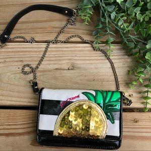 Betsey Johnson Cross body pineapple stripe purse